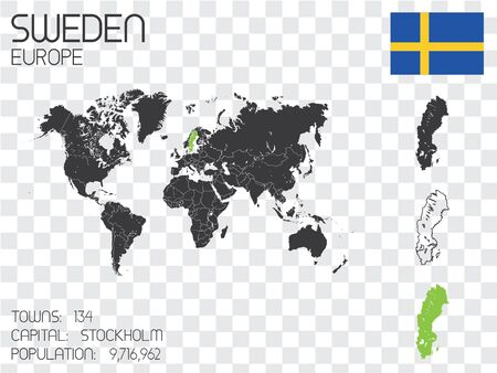 Illustrated Country Shape with the Flag inside of Sweden