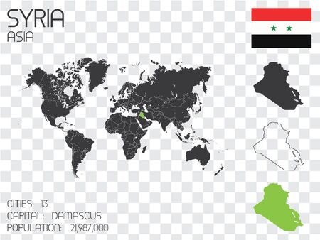 Illustrated Country Shape with the Flag inside of Syria