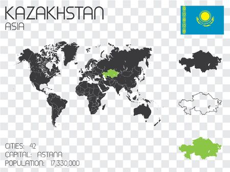 physical geography: Illustrated Country Shape with the Flag inside of Kazakhstan Stock Photo