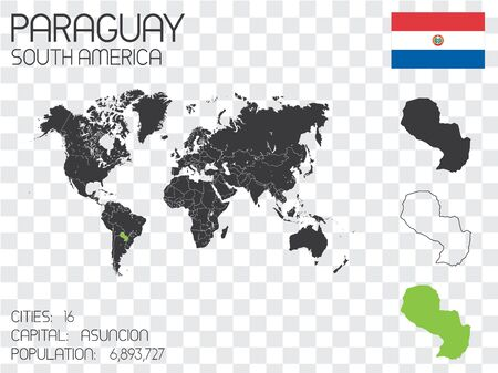 bandera de paraguay: Illustrated Country Shape with the Flag inside of Paraguay