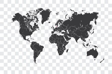 Illustrated World Map with the selected Country Shape of Denmark