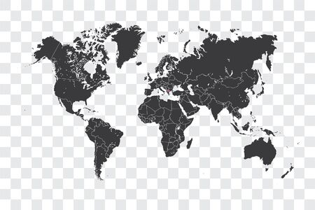 Illustrated World Map with the selected Country Shape of Macedonia Stock Photo