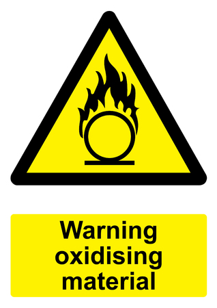 oxidising: Black and Yellow Warning Sign isolated on a white background -  Oxidising material flame