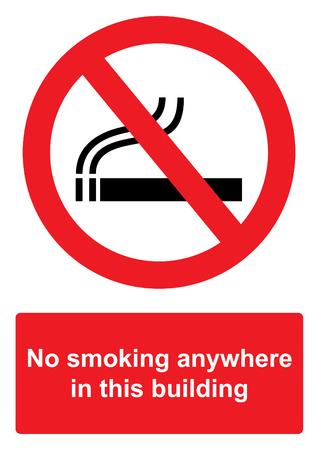 흰 배경에 고립 된 금지 표지판 -이 건물 어디서나 금연 스톡 콘텐츠