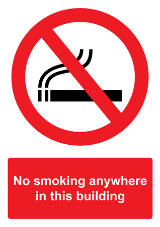 Red Prohibition Sign isolated on a white background -  No smoking anywhere in this building Stock Photo