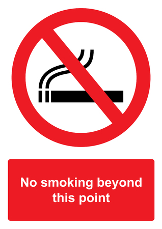 Red Prohibition Sign isolated on a white background -  No smoking beyond this point Stock Photo