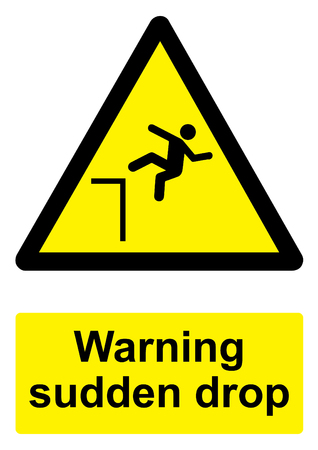 Black and Yellow Warning Sign isolated on a white background -  Sudden drop