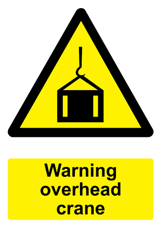 Black and Yellow Warning Sign isolated on a white background -  Overhead crane Stock Photo
