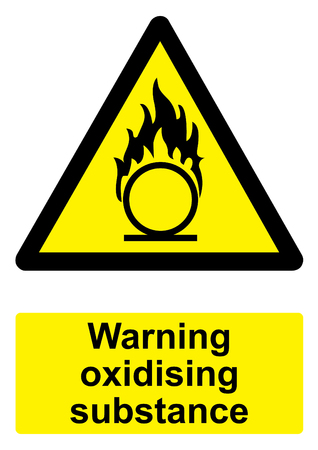 oxidising: Black and Yellow Warning Sign isolated on a white background -  Oxidising substance Stock Photo