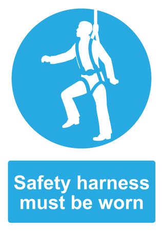 Blue Mandatory Sign isolated on a white background -  Safety harness must be worn