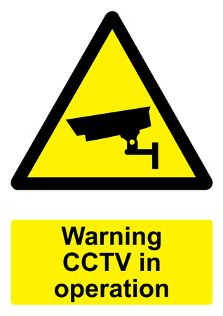 Black and Yellow Warning Sign isolated on a white background -  CCTV in operation Stock Photo