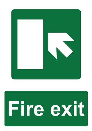 Green Fire Evacuation Sign isolated on a white background -  Fire exit forward to the left with door Stock Photo