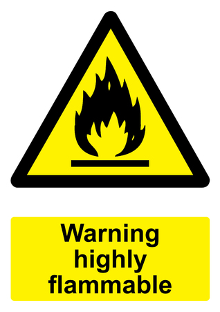 Black and Yellow Warning Sign isolated on a white background -  Highly flammable