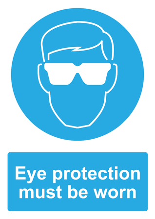 Blue Mandatory Sign isolated on a white background -  Eye protection must be worn