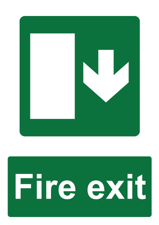 Green Fire Evacuation Sign isolated on a white background -  Fire exit down with door