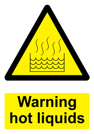Black and Yellow Warning Sign isolated on a white background -  Hot liquids