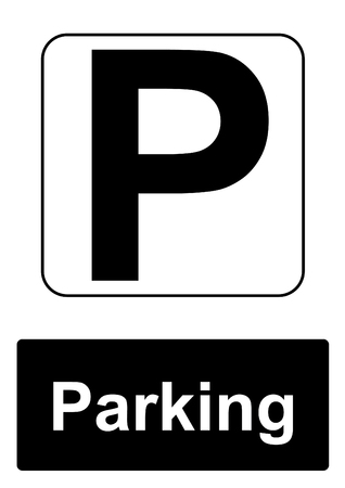 Public Information Sign isolated on a white background -  Parking Stock Photo