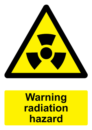 Black and Yellow Warning Sign isolated on a white background -  Radiation hazard Stock Photo