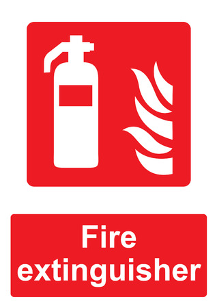 Red Fire Equipment Sign isolated on a white background -  Fire extinguisher flames Stock Photo