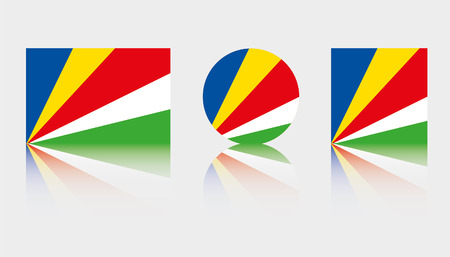 Three Flag Illustrations of the country of Seychelles