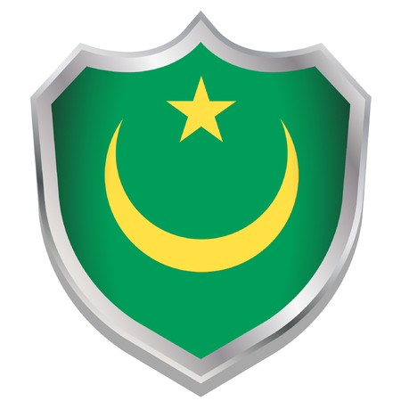 mauritania: A Shield Illustration with the flag for the country of Mauritania Illustration