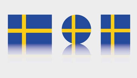 Three Flag Illustrations of the country of Sweden Illustration