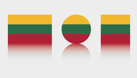 Three Flag Illustrations of the country of Lithuania