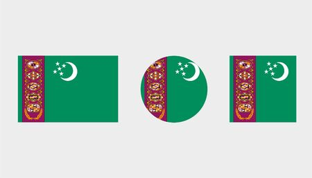 turkmenistan: Flag Illustrations of the country  of Turkmenistan