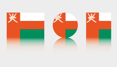 Three Flag Illustrations of the country of Oman Illustration