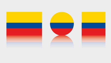 Three Flag Illustrations of the country of Colombia