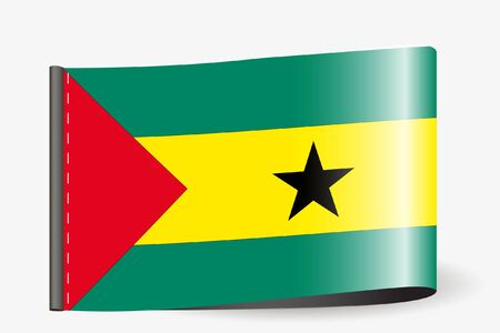 A Flag Illustration on a textile label for the country of Sao Tome E Principe Vetores