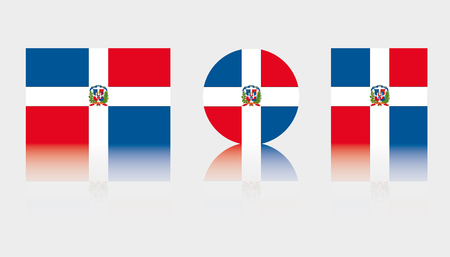 Three Flag Illustrations of the country of Dominican Republic