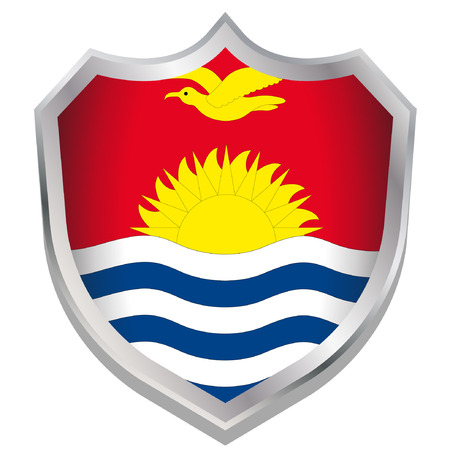 A Shield Illustration with the flag for the country of Kiribati Illustration