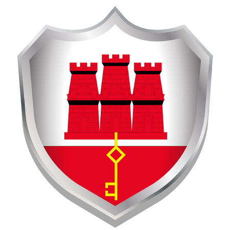 A Shield Illustration with the flag for the country of Gibraltar