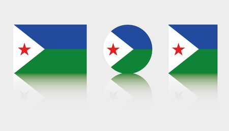 Three Flag Illustrations of the country of Djibouti Illustration