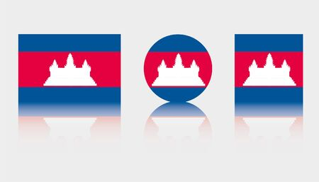 Three Flag Illustrations of the country of Cambodia