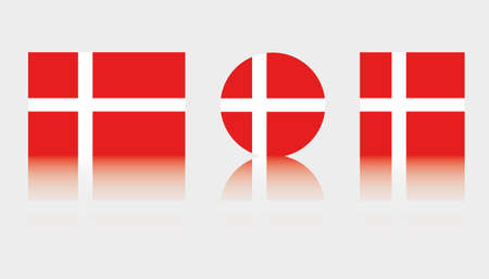 Three Flag Illustrations of the country of Denmark