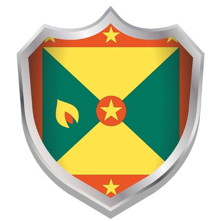 A Shield Illustration with the flag for the country of Grenada Illustration