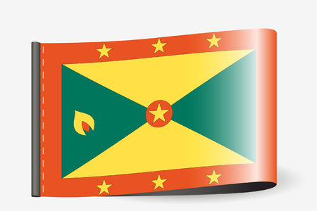 grenada: A Flag Illustration on a textile label for the country of  Grenada