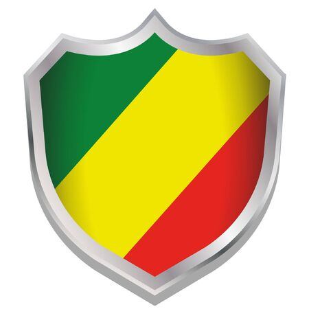 A Shield Illustration with the flag for the country of Congo Illustration
