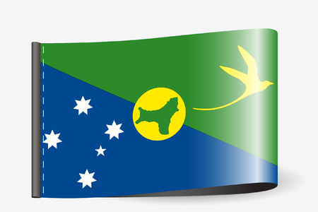 A Flag Illustration on a textile label for the country of  Christmas Island