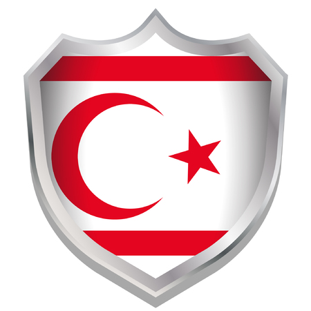 A Shield Illustration with the flag for the country of Northern Cyprus