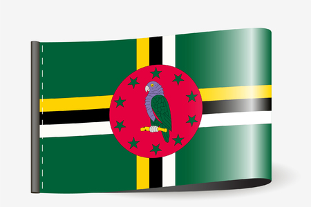 A Flag Illustration on a textile label for the country of  Dominica