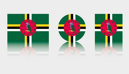 Three Flag Illustrations of the country of Dominica
