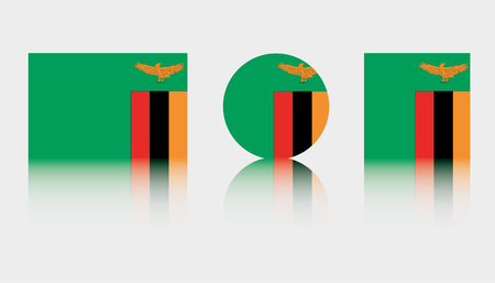 Three Flag Illustrations of the country of Zambia