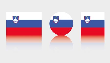 Three Flag Illustrations of the country of Slovenia