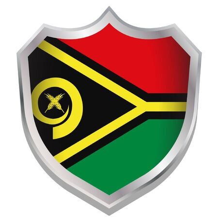 A Shield Illustration with the flag for the country of Vanuatu