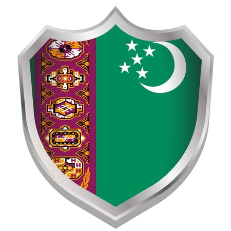 turkmenistan: A Shield Illustration with the flag for the country of Turkmenistan