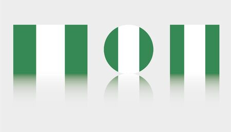 Three Flag Illustrations of the country of Nigeria Illustration