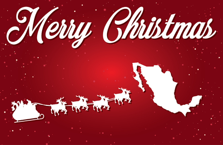 A Merry Christmas Illustration with Santa landing in the Country of Mexico